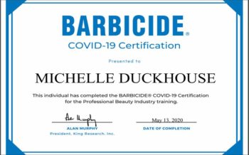 BARBICIDE COVID 19 CERTIFICATION